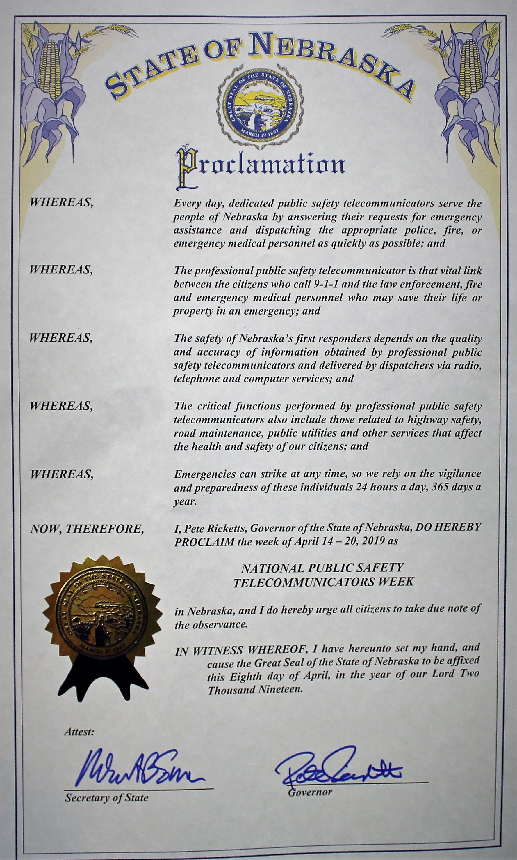 2019 Nat'l Public Safety Telecommunicators Week Proclamation